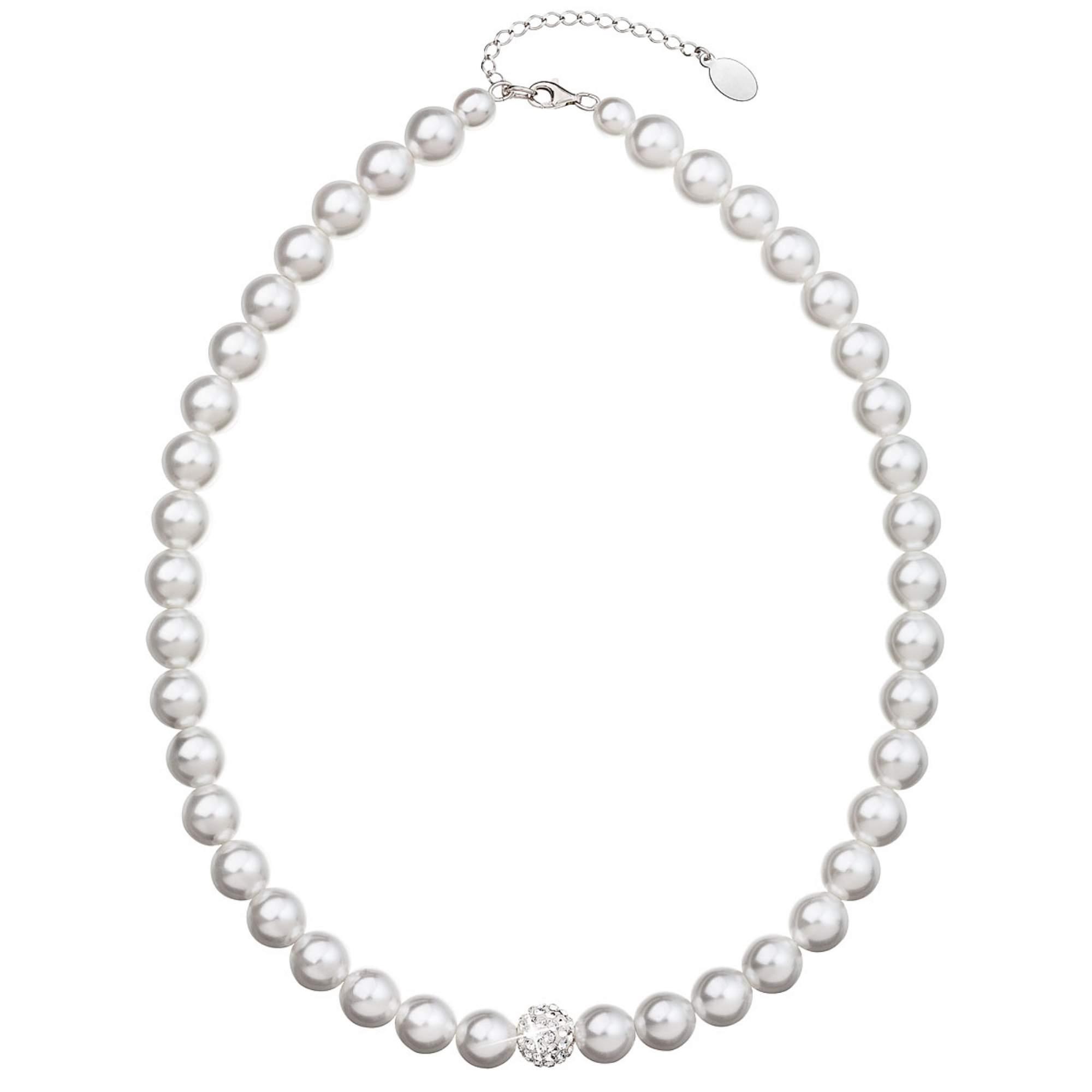 Perlový náhrdelník bílý s Preciosa krystaly EG4271