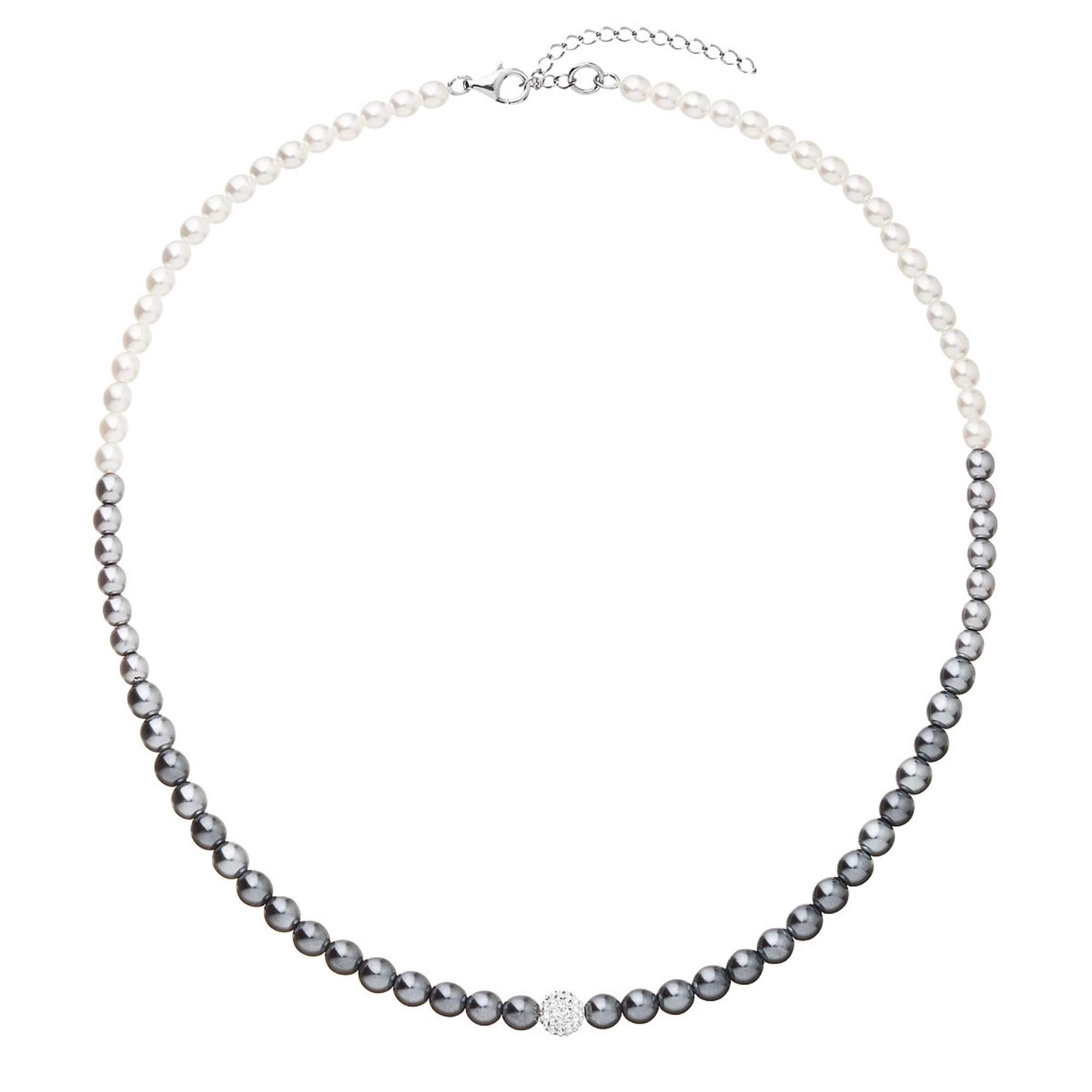 Perlový náhrdelník bílo-šedý s Preciosa krystaly EG4270
