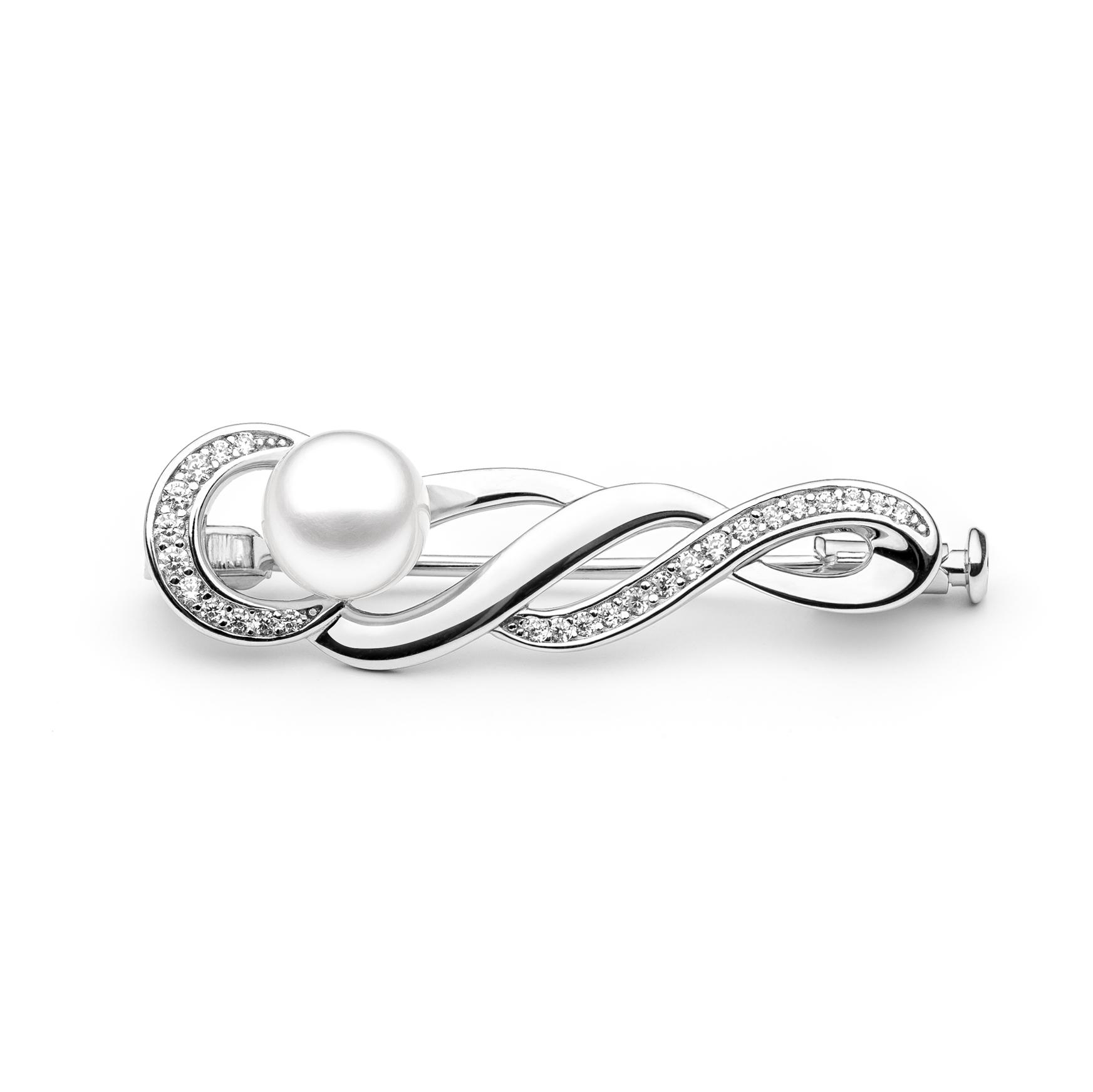 Stříbrná brož s pravou říční perlou