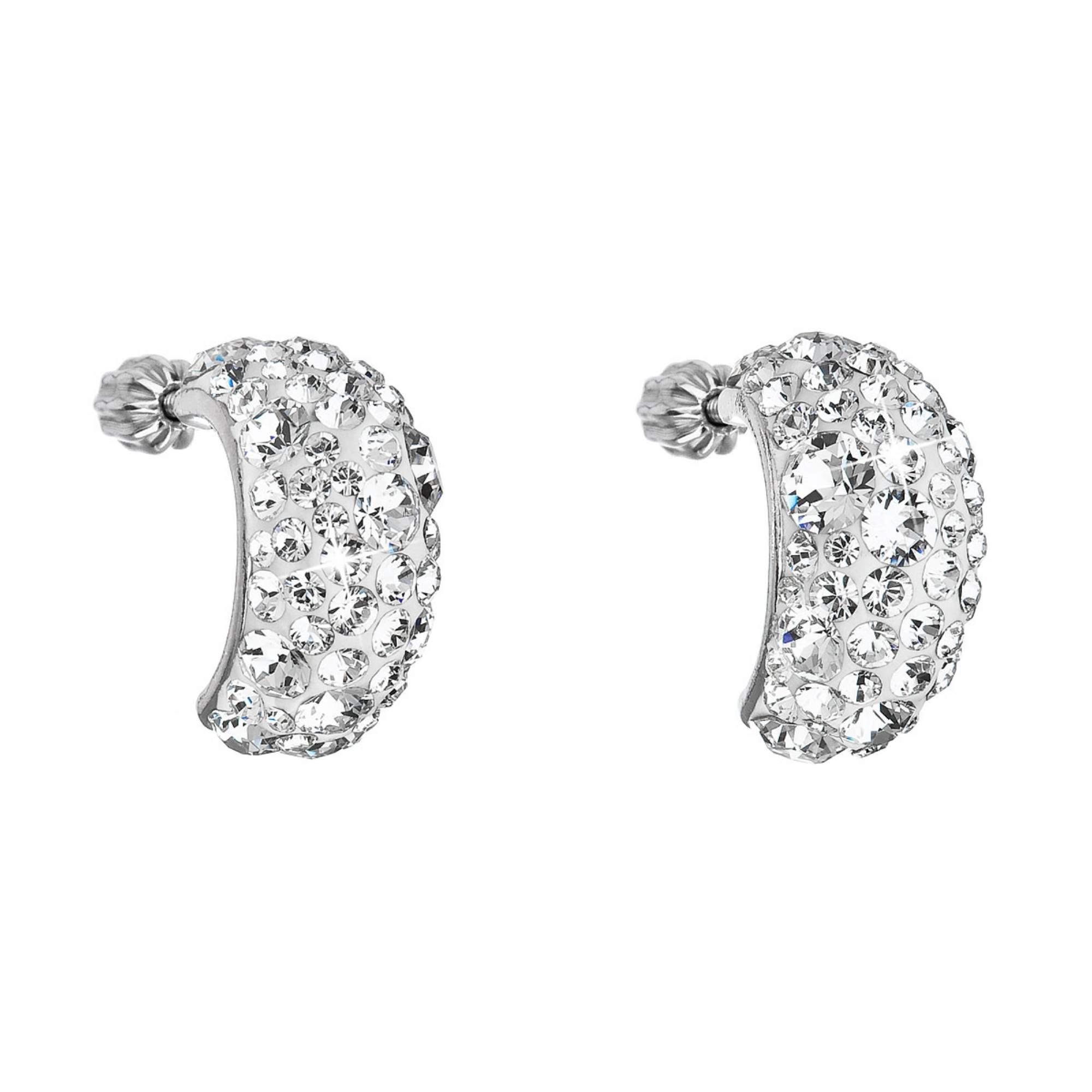 Stříbrné šroubovací náušnice s krystaly Crystals from Swarovski®, Crystal EG2002-CR