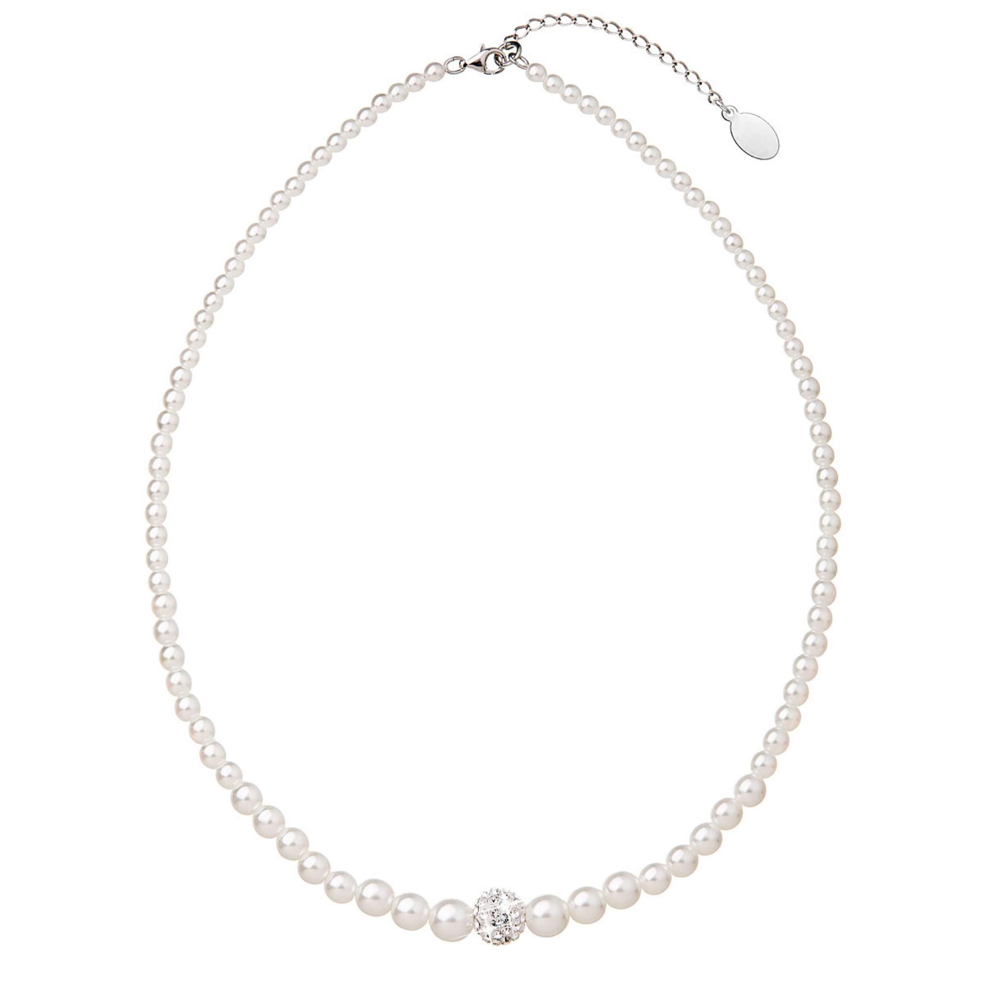 Perlový náhrdelník bílý s Preciosa krystaly EG4266