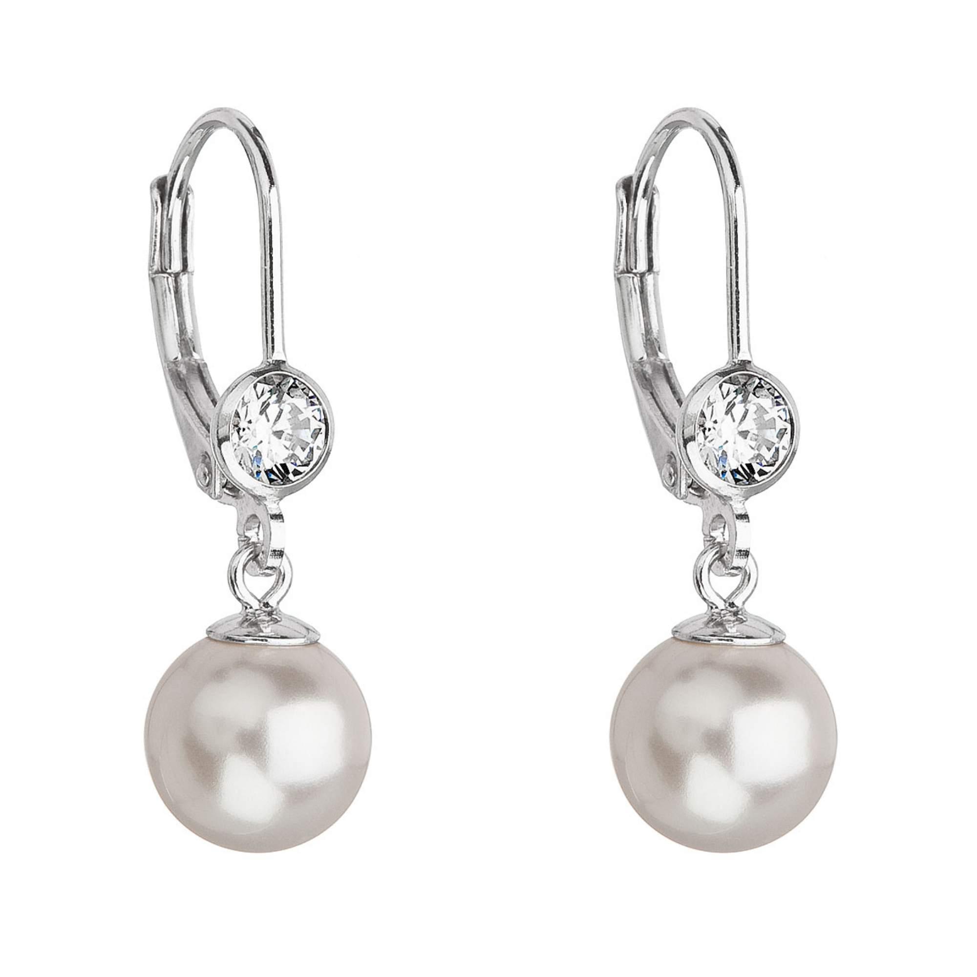 Stříbrné náušnice s perlou a kameny Crystals from Swarovski® White EG2074-WH