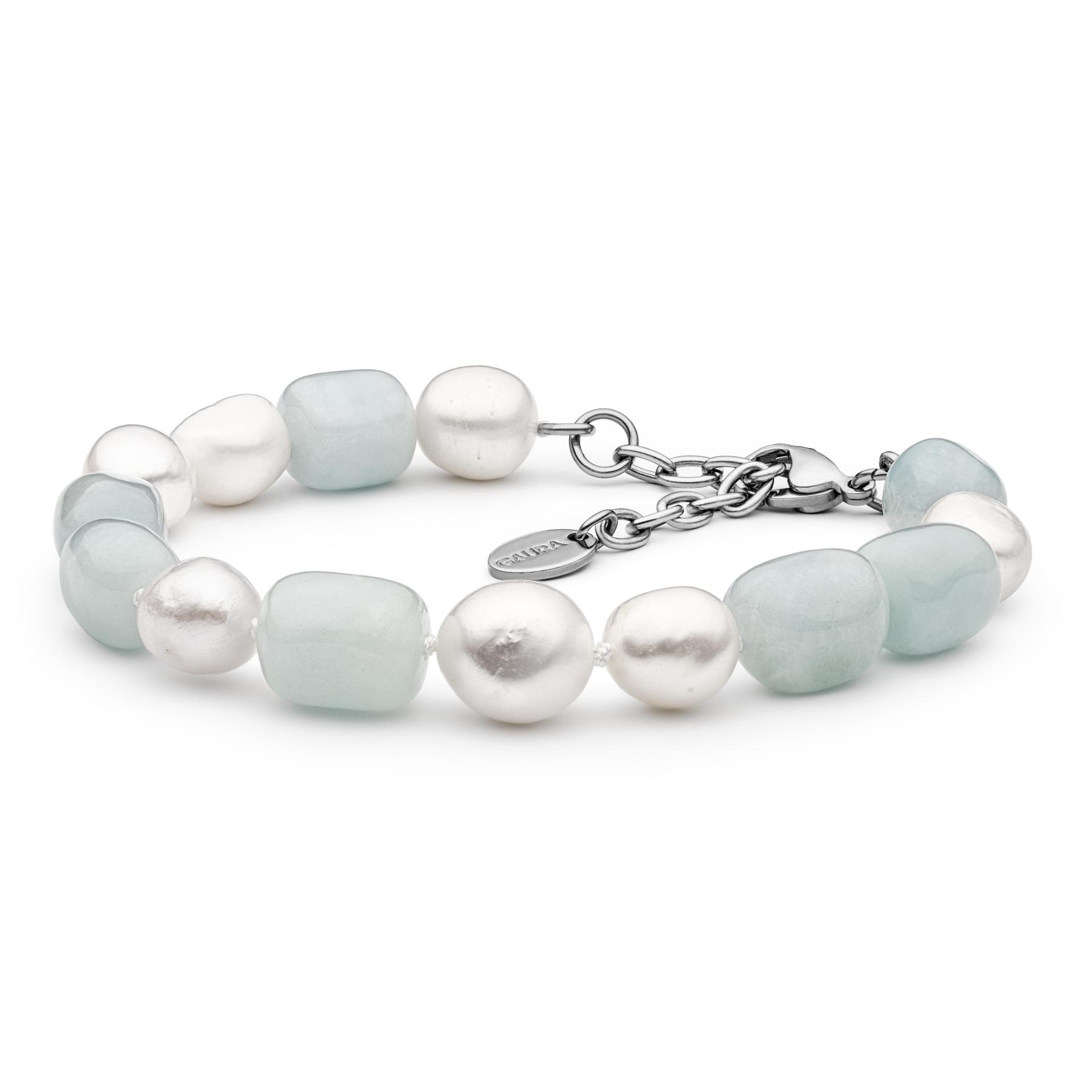 Perlový náramek z pravých říčních perel a akvamarínů GA2025