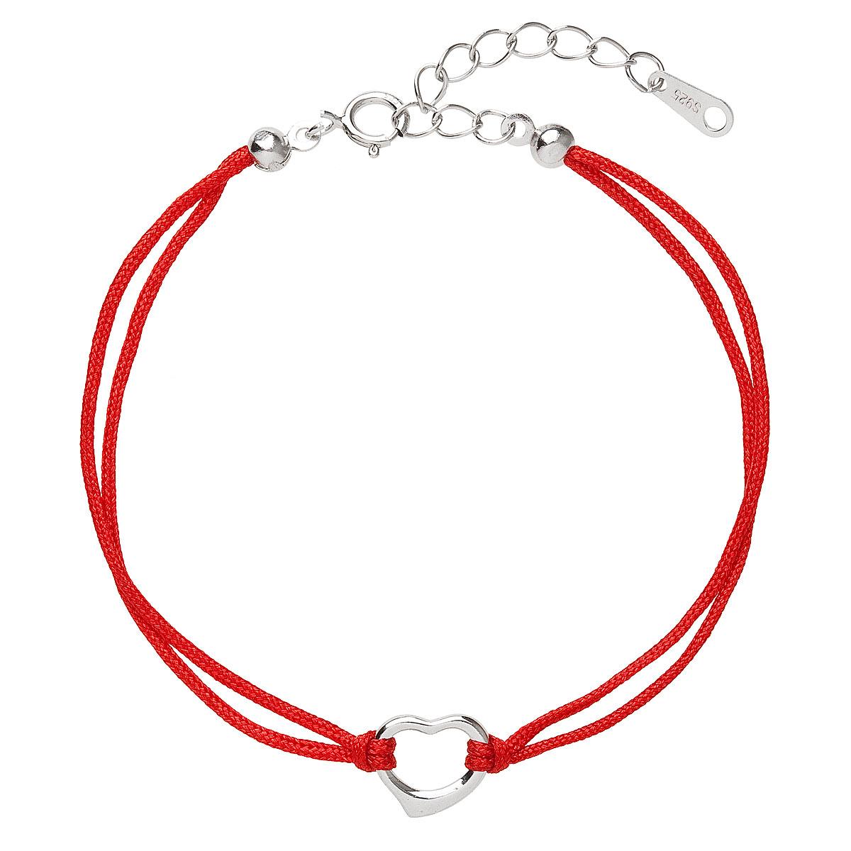 Červený náramek proti uhranutí stříbrné srdíčko EG7237-R