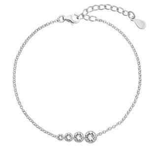 EG7247-CR Stříbrný náramek s řetízkem a bílými krystaly