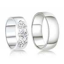 AN1044 + AN1045  Stříbrné snubní prsteny, AG 925/1000 - pár
