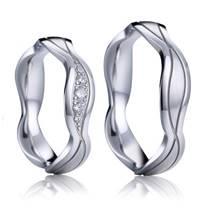 AN1046 Stříbrné snubní prsteny vlnka - pár