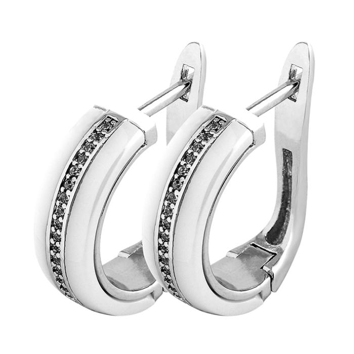 3196e8fbb Bílé keramické náušnice se zirkony   Šperky4U.eu
