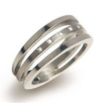 BOCCIA® titanový prsten s diamanty 0128-03