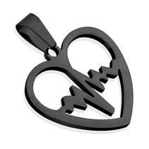 Černý ocelový přívěšek - srdce heart beat
