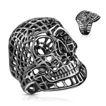 Černý ocelový prsten - lebka drátěná