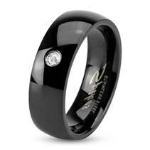 Černý ocelový prsten šíře 6 mm
