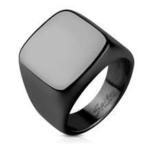 Černý pečetní ocelový prsten