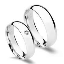 CS2042-5ZR Stříbrné snubní prsteny, šíře 5 mm - pár