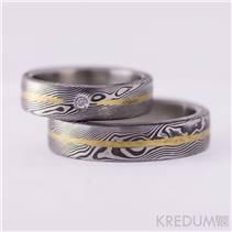 Dámský kovaný prsten Damasteel Golden Line