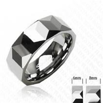 Dámský prsten wolfram, šíře 6 mm, vel. 49