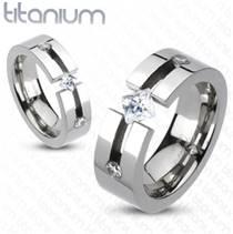 Dámský snubní prsten titan, šíře 6 mm, vel. 55