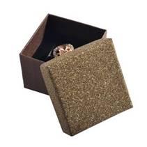 Dárková krabička na prsten nebo náušnice, stříbřitě hnědá
