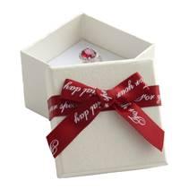Dárková krabička na prsten/náušnice, bílá s červenou mašlí