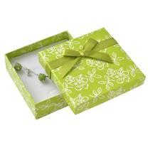 Dárková krabička na soupravu šperků s kytičkami, zelená