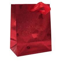 Dárková taška červená se srdíčky