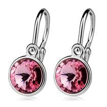 Dětské stříbrné náušnice, Crystals from SWAROVSKI®, barva: Light Rose