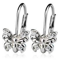 Dívčí stříbrné náušnice - motýlci