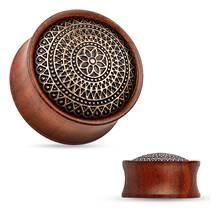 Dřevěný plug do ucha Rose Wood s ornamenty