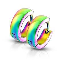 Duhové ocelové náušnice - kroužky