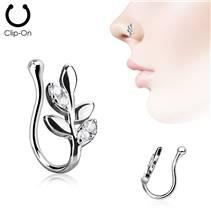 Falešný piercing do nosu větvička - klips