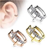 Falešný piercing do ucha - klips s čirými kamínky