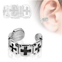 Falešný piercing do ucha - klips s kříži