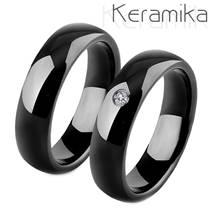 Keramické snubní prsteny černé - pár