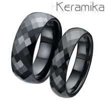 KM1002 Keramické snubní prsteny šíře 6mm + 8mm  - pár
