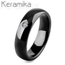 KM1010-6 Dámský keramický prsten černý, šíře 6 mm