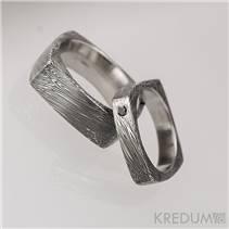 Kované snubní prsteny Damasteel, černý diamant - pár