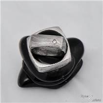 Kované snubní prsteny Damasteel, diamant - pár