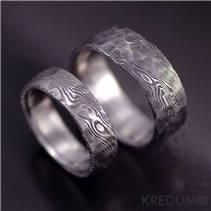 Kované snubní prsteny Damasteel Natura - pár