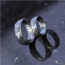 Kované snubní prsteny Damasteel Rocksteel - pár