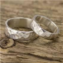 Kované stříbrné prsteny Draill - pár