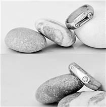 Kovaný Damasteel prsten Blíženci s diamanty