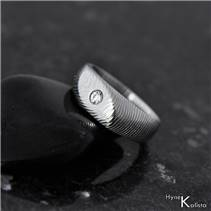Kovaný Damasteel prsten Intimity Slim, diamant 2,7 mm