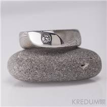 Kovaný Damasteel prsten Intimity Slim, diamant 2,7 mm