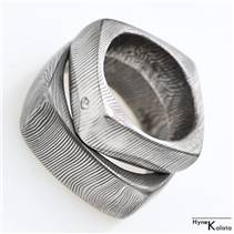 Kovaný prsten damasteel - Kulatýčtvereček