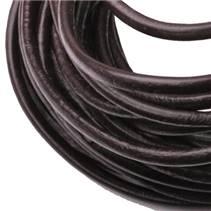 Kožená šňůrka kulatá tmavě hnědá, tl. 3 mm