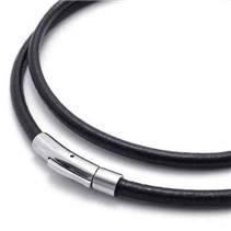 Kožený náhrdelník - ocelový uzávěr, tl. 4 mm