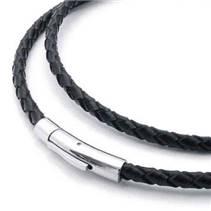 Kožený náhrdelník splétaný - ocelový uzávěr, tl. 4 mm, délka 40 cm