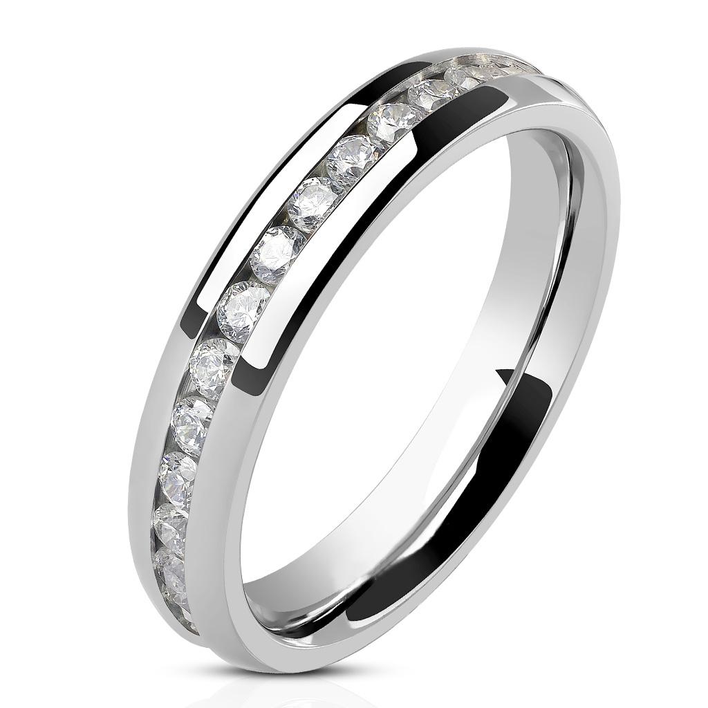 5849580fd Luxusní dámský prsten se zirkony, šíře 4 mm. prsten chirurgická ocel