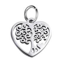 Malý ocelový přívěšek srdce strom života