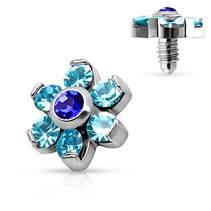 Microdermal - ozdobná část kytička, modré kamínky